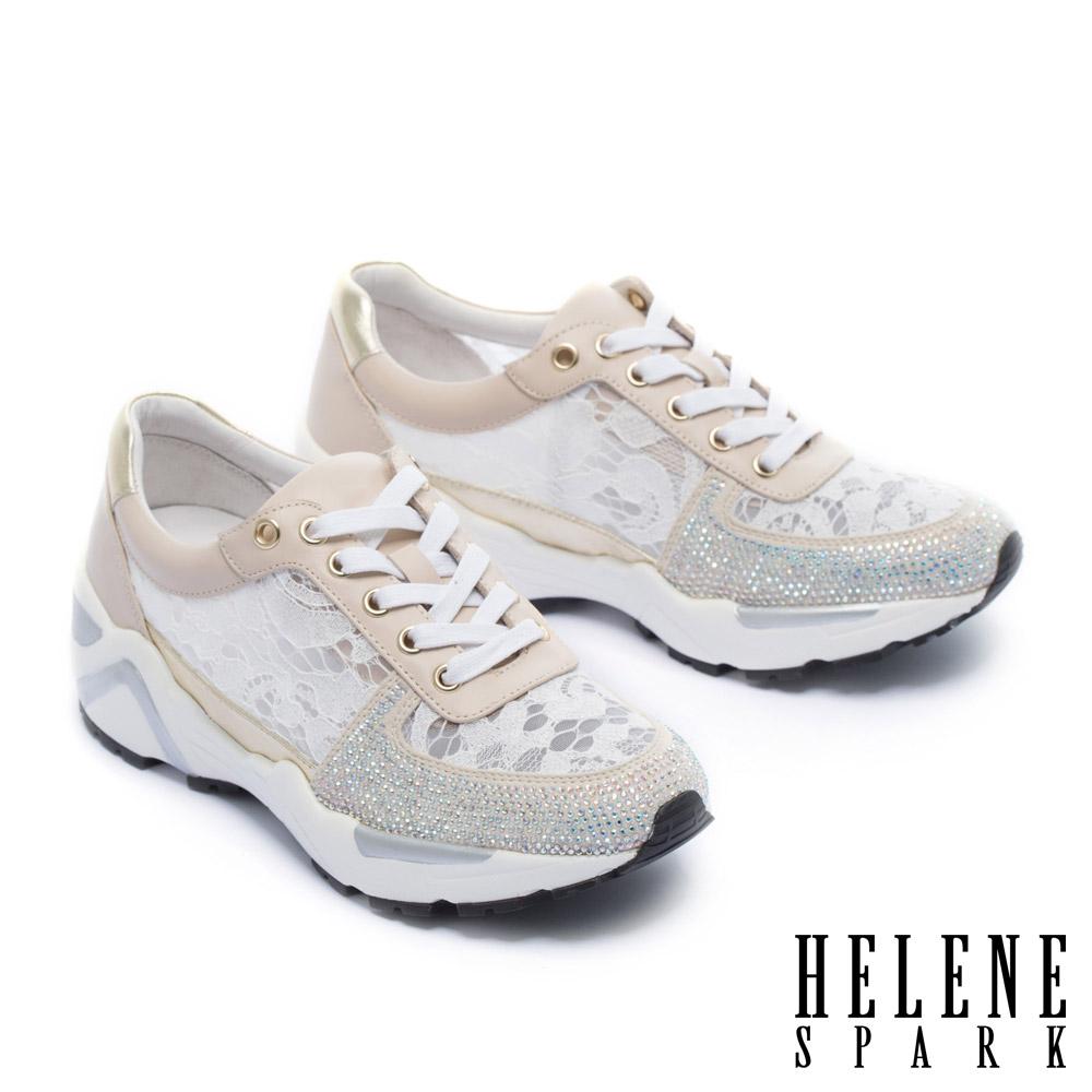 休閒鞋 HELENE SPARK 精緻優雅晶鑽點綴牛皮拼接蕾絲厚底內增高休閒鞋-白