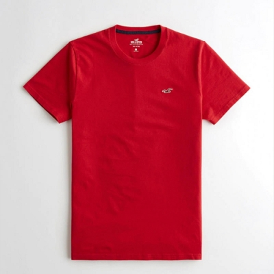 Hollister HCO 海鷗LOGO 紅色刺繡 紅色 圓領 素面短T(男/紅色-M)