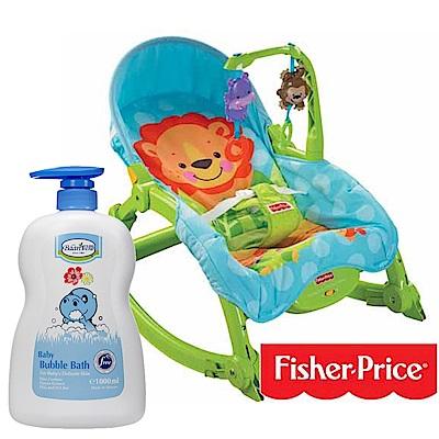 費雪牌 可愛動物可攜式兩用安+貝恩Baan 嬰兒泡泡香浴露/1000ml