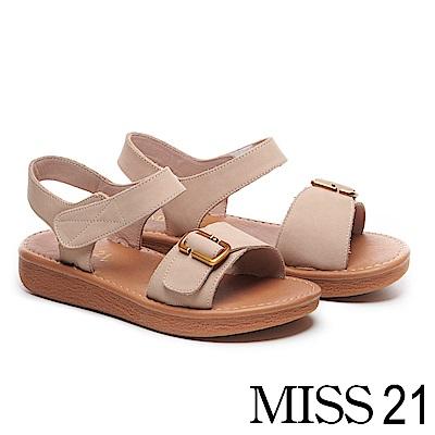 涼鞋 MISS 21 復古率性古銅方釦繫帶磨砂牛皮厚底涼鞋-米