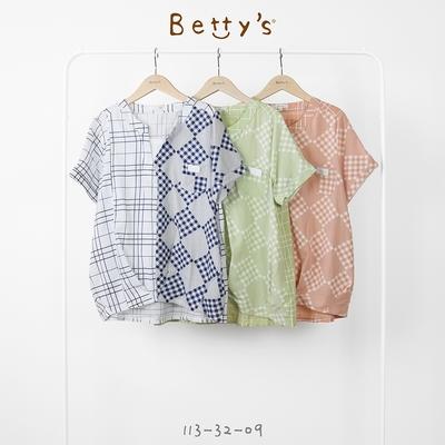 betty's貝蒂思 立V領格布拼接假領口上衣(淺綠)