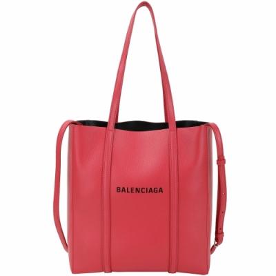 BALENCIAGA EVERYDAY 品牌字母小牛皮兩用托特包(紅色/XS)