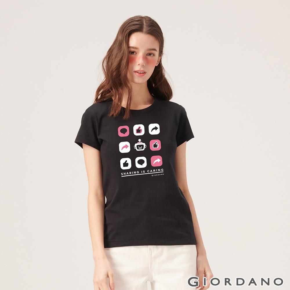 GIORDANO 女裝英文標語印花短袖T恤-38 標誌黑