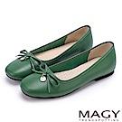 MAGY 清新女孩 百搭細帶蝴蝶結牛皮娃娃鞋-綠色