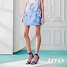 IGD英格麗 悠閒熱帶植物印花雙層花苞裙