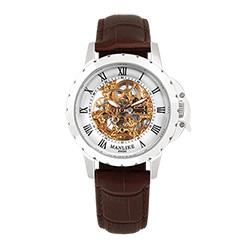 Manlike曼莉萊克羅馬鏤空雕花限量機械錶 銀色 白面 咖啡色帶