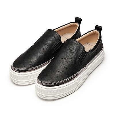 BuyGlasses 厚底低調皮質懶人鞋-黑