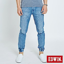 EDWIN 迦績褲JERSEYS 後袋剪接束口褲-男-石洗藍