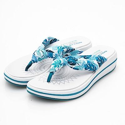 SKECHERS (女) 時尚休閒系列UPGRADES 拖鞋-40965BLU