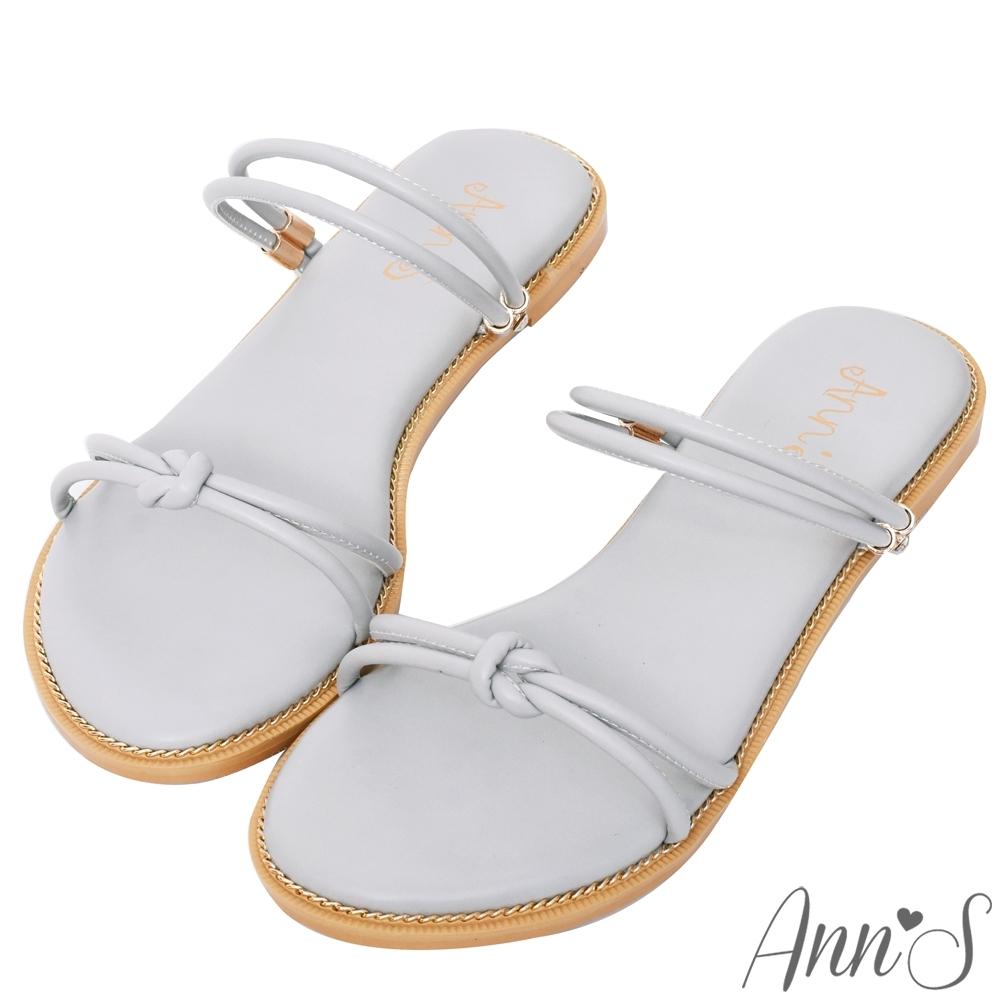 Ann'S微糖小文青-扭結可兩穿寬版平底涼鞋-灰