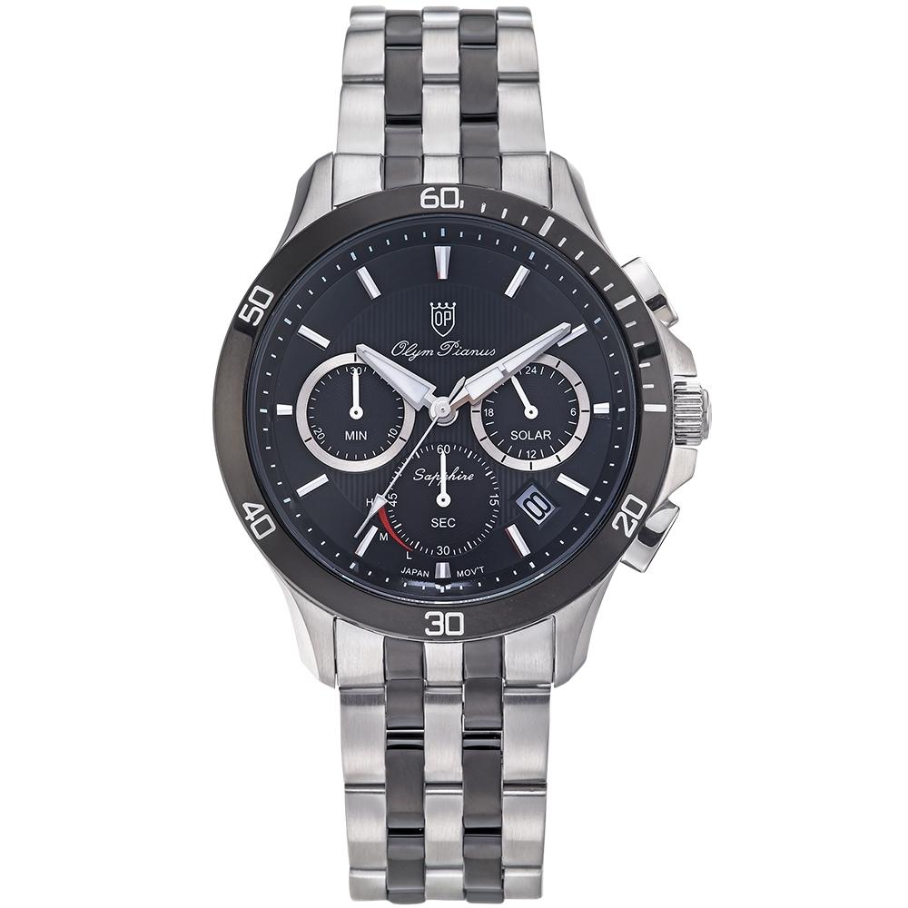 Olym Pianus 奧柏表 閃耀太陽能計時腕錶-黑 89051-3GSB