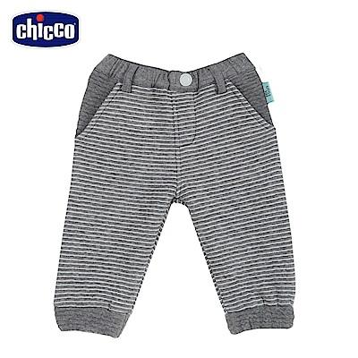 chicco-小熊家族-夾棉條紋長褲