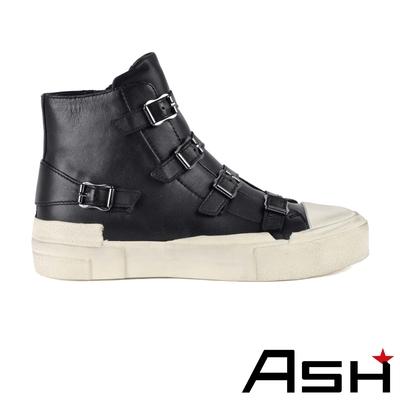 ASH GANG時尚側皮帶造型真皮高筒刷舊休閒鞋-黑