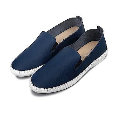 BuyGlasses 時尚素面微尖頭真皮懶人鞋-藍