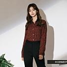 H:CONNECT 韓國品牌 女裝-氣質韓系豹紋襯衫-棕