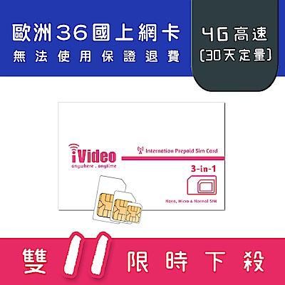 iVideo歐洲上網卡 SIM卡 10GB 30天