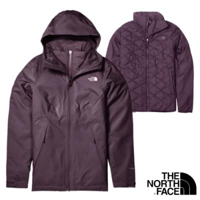 The North Face 女新款 防風防水透氣耐磨連帽兩件式外套.夾克/風雨衣_紫 N