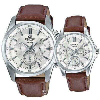 CASIO 情人時尚對錶(EFR-560L-7A+SHE-3060L-7A)