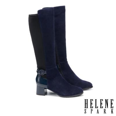 長靴 HELENE SPARK 率性時髦異材質拼接粗高跟長靴-藍