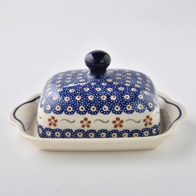 波蘭陶 紅點藍花系列 奶油碟 (含蓋) 20x10.5cm 波蘭手工製