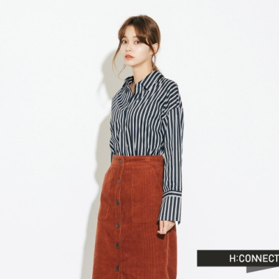 H:CONNECT 韓國品牌 女裝-棉質細條紋襯衫-藍