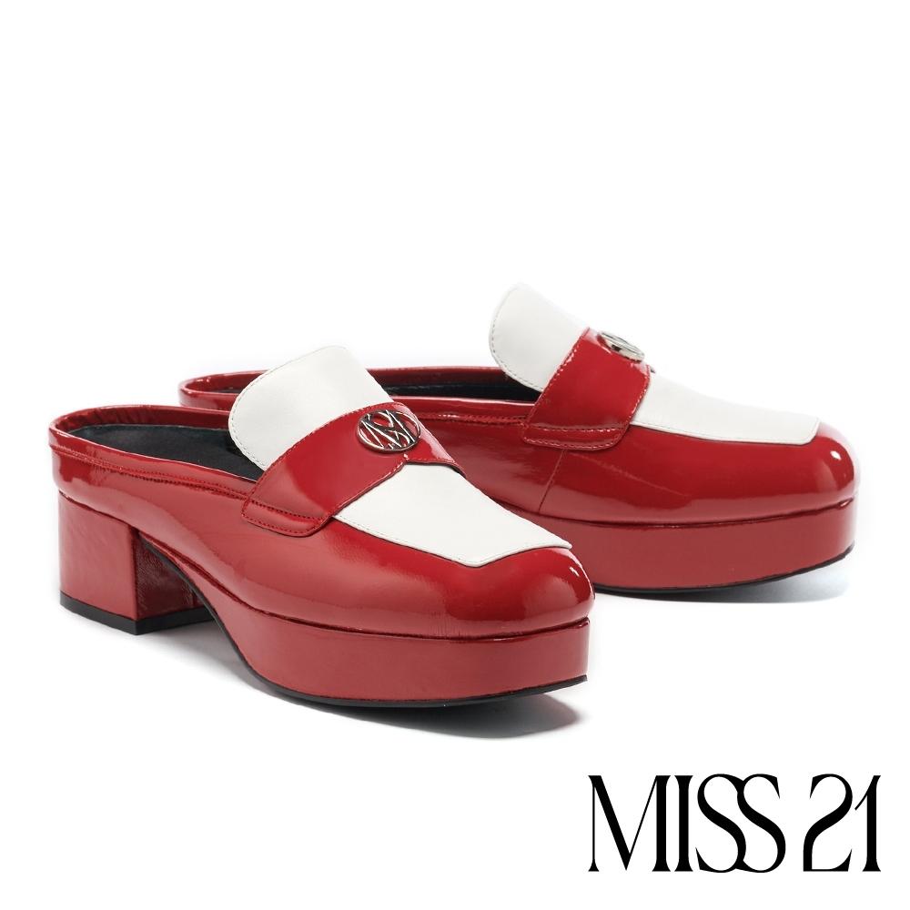 拖鞋 MISS 21 復古時髦LOGO撞色大方頭穆勒高跟拖鞋-紅