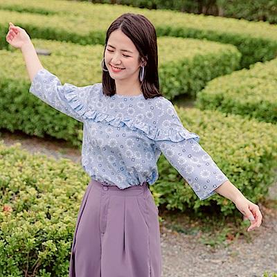 iMODA STAR-滿版花朵拼接荷葉邊七分袖上衣