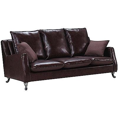 文創集 雷蒙復古咖透氣皮革三人座沙發椅-201x80x92cm免組