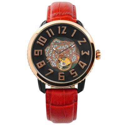 Tendence 天勢表 機械錶自動上鍊珍珠母貝防水真皮手錶-黑x玫瑰金框x紅/48mm