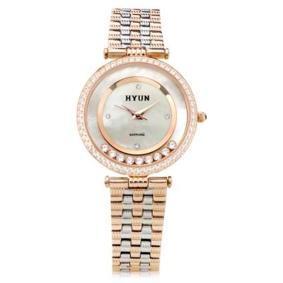 HYUN炫 珍珠母貝環繞鑽石鋼帶錶-玫瑰金