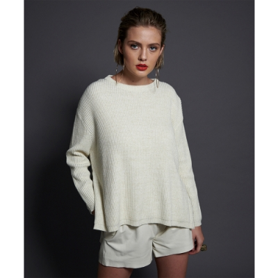 ONETEASPOON ZIP SIDE SWEATER 毛衣-白(女)