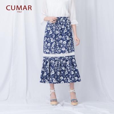 【CUMAR】花卉蕾絲羅紋-長裙(二色/版型適中)