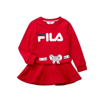FILA KIDS 女童針織洋裝-紅 5DRT-8448-RD