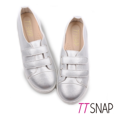 TTSNAP休閒鞋-MIT素面雙層魔鬼氈輕量真皮厚底鞋 銀