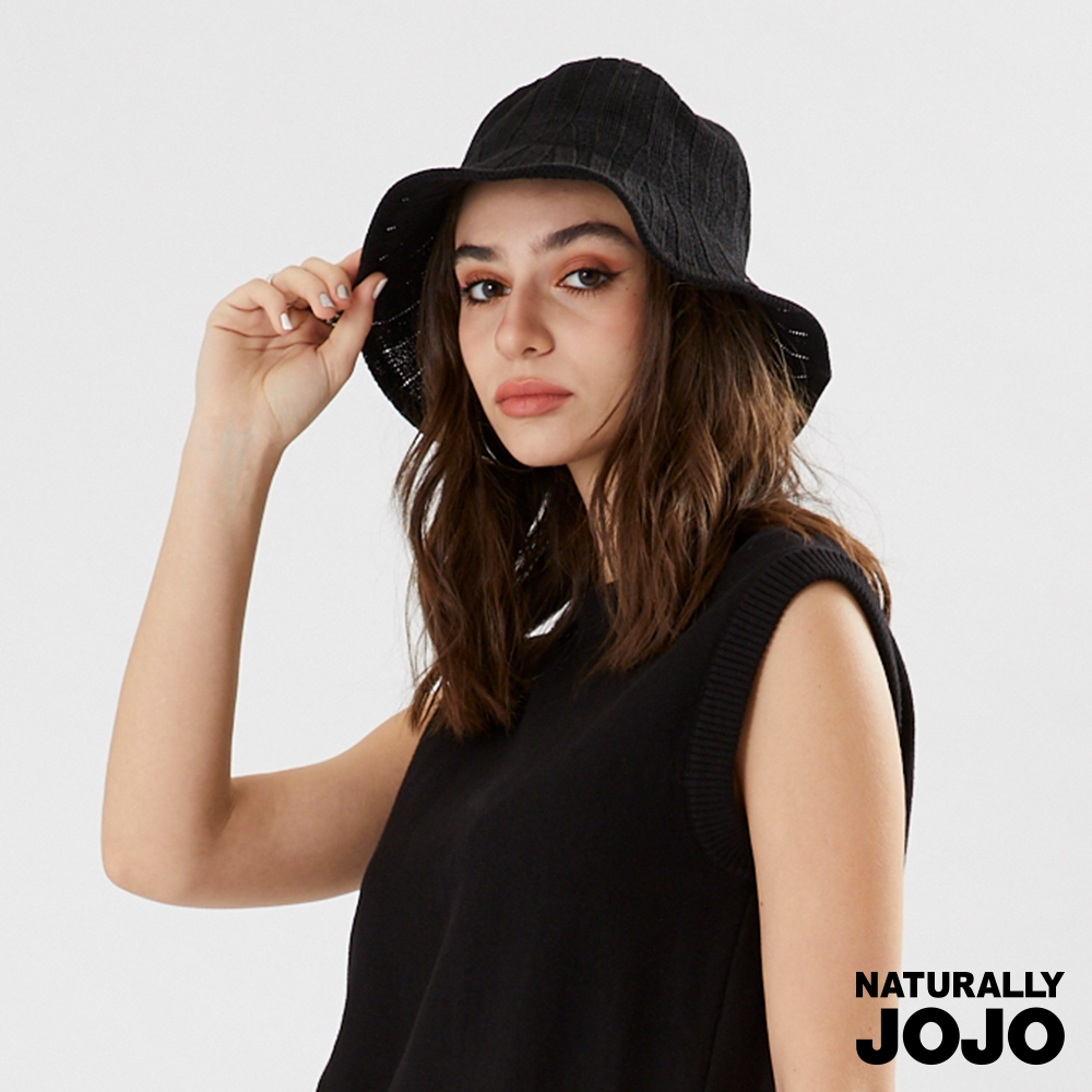 【NATURALLY JOJO】  軟式編織坑條棉帽 (黑)