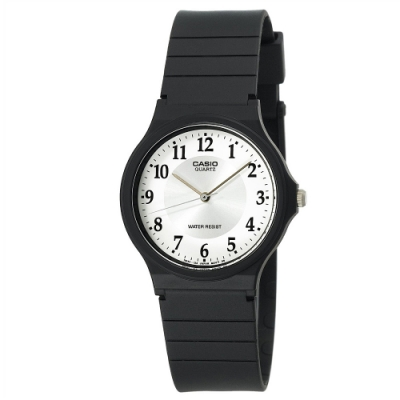 CASIO 超輕薄感數字錶(MQ-24-7B3)-白面x銀圈x黑數字