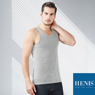 HENIS 黑白雙紗 經典歐風 2x2立體螺紋背心