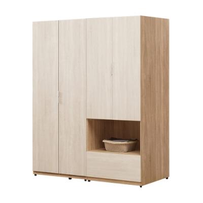 文創集 莎吉亞5尺開門衣櫃/收納櫃組合(吊桿+單抽+開放層格)-150x60x197免組