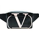 VALENTINO V字logo牛皮斜背/腰包 (黑)