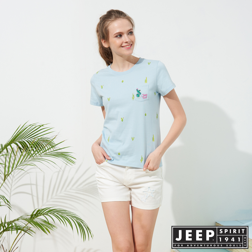 JEEP 女裝 仙人掌造型印花短袖TEE-天空藍