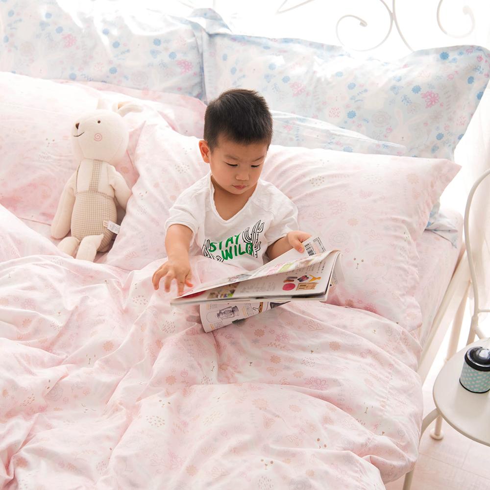 OLIVIA 森林小兔 粉 標準雙人床包冬夏兩用被套四件組 300織精梳純棉