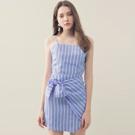 AIR SPACE 甜美綁結直條紋細肩短裙套裝(藍)