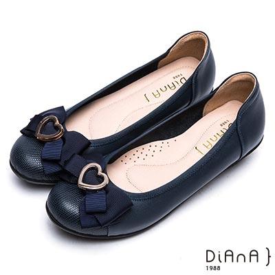 DIANA 舒適甜美--俏皮心形釦蝴蝶結真皮楔型娃娃鞋- 深藍