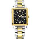 Olympia Star 奧林比亞之星 經典時尚羅馬方型腕錶-雙色*黑 58065MSK