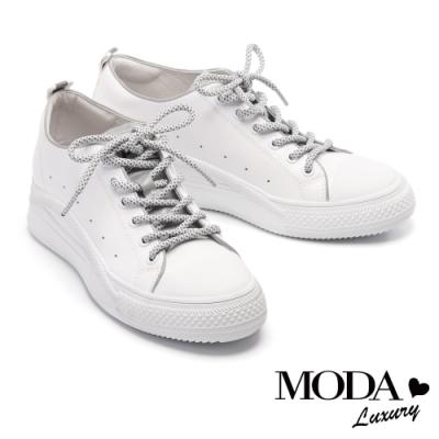 休閒鞋 MODA Luxury 科技夜光潮牛皮綁帶厚底休閒鞋-白