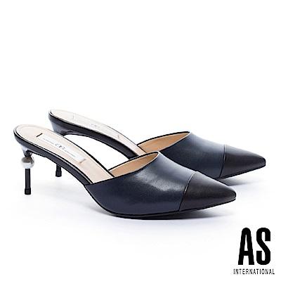 拖鞋 AS 極簡優雅雙色拼接羊皮尖頭穆勒高跟拖鞋-藍