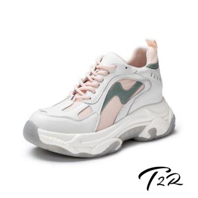 T2R-正韓空運-真皮網布拼接厚底防滑老爹鞋-增高8公分-粉