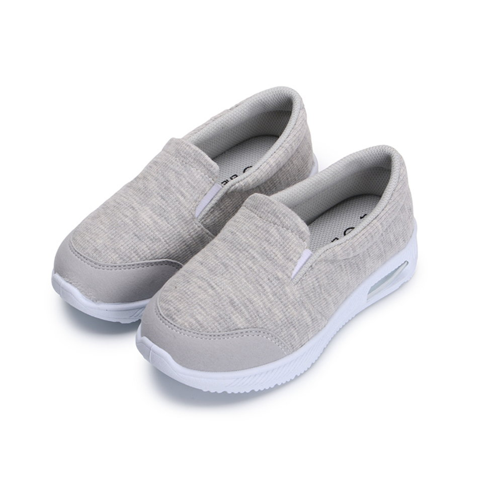 BuyGlasses 拼接氣墊運動兒童懶人鞋-灰