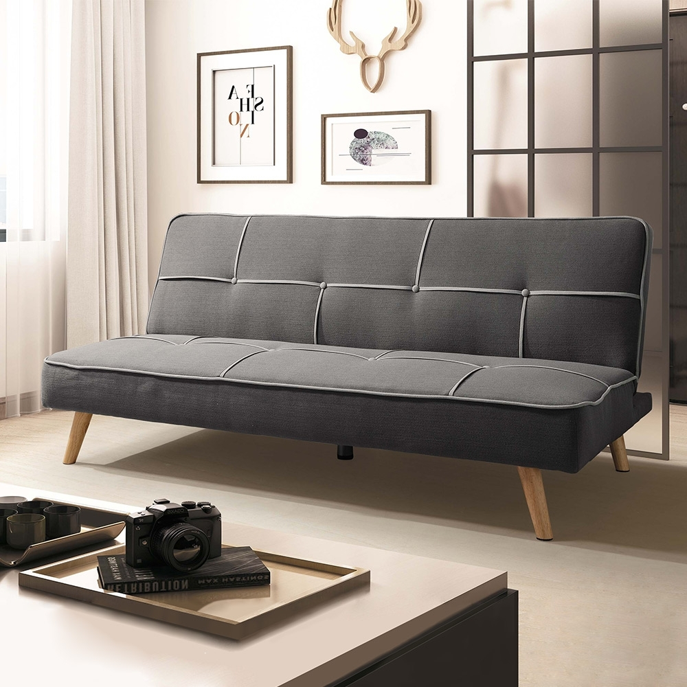 Boden-查理斯時尚灰色布沙發床/三人椅/三人座