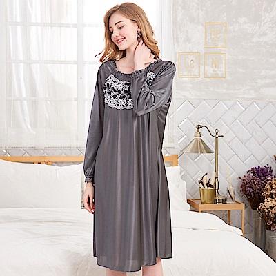 睡衣 浪漫蕾絲 彈性絲質長袖連身睡衣(R75215-6灰色) 蕾妮塔塔